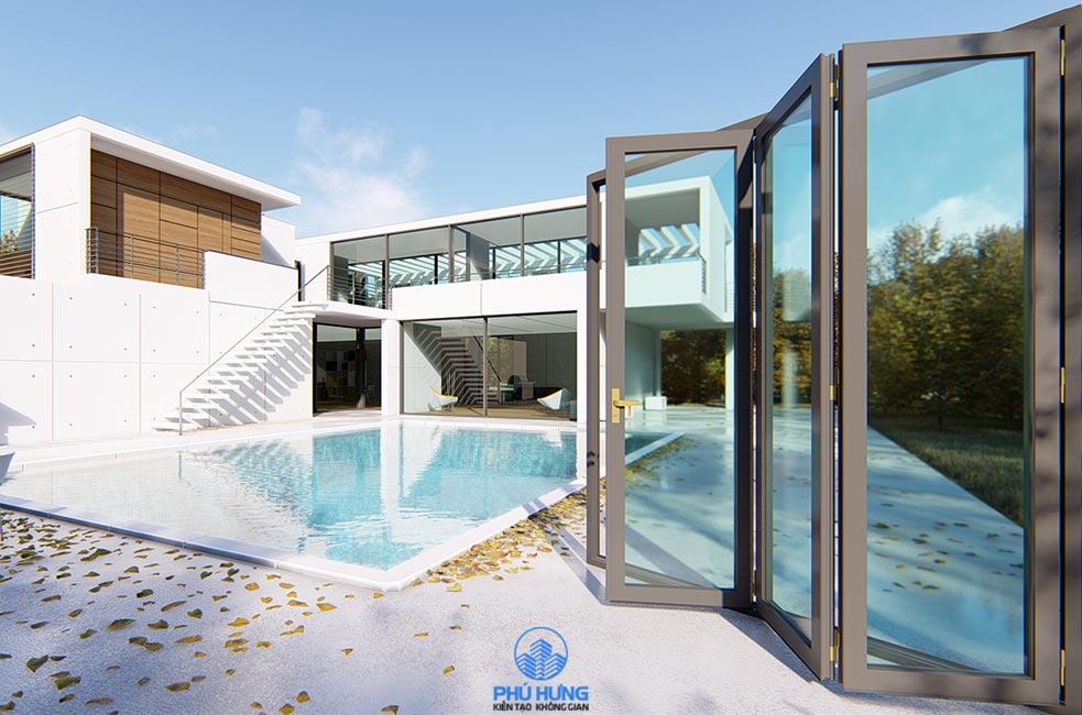 Mẫu cửa đi Xếp trượt hiện đại, phù hợp không gian kiến trúc các công trình nhà Biệt thự hoặc Nhà phố mặt tiền rộng.