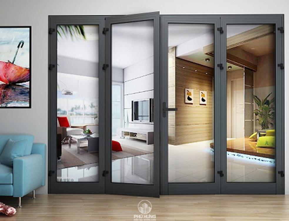 Mẫu cửa nhôm 4 cánh mở quay nhôm Xingfa tại Showroom Phú Hưng