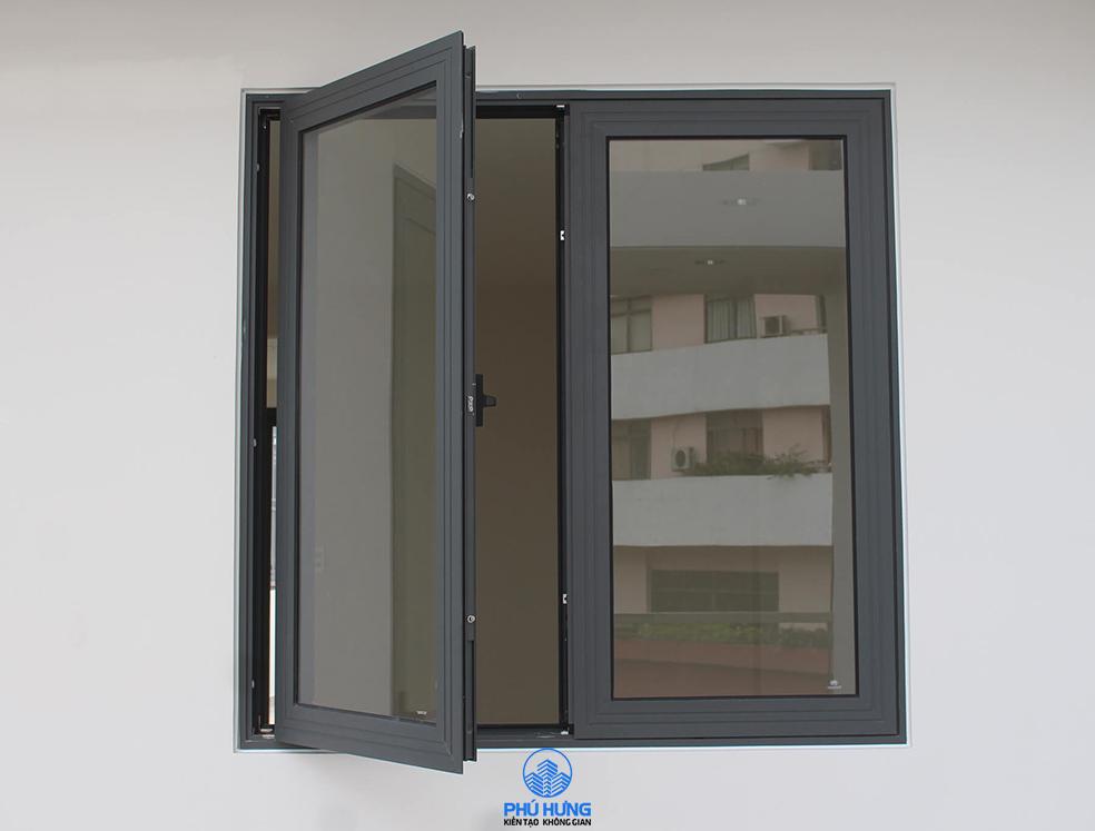 Cửa sổ nhôm kính Xingfa Hệ 55 mở quay, Cửa nhôm Xingfa màu xám